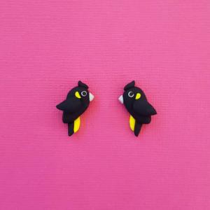 Black Cockatoo Stud Earrings, handmade in Australia from Polymer Clay