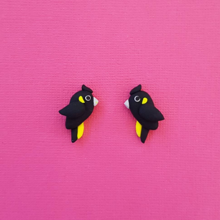 Black Cockatoo Stud Earrings, handmade from Polymer Clay