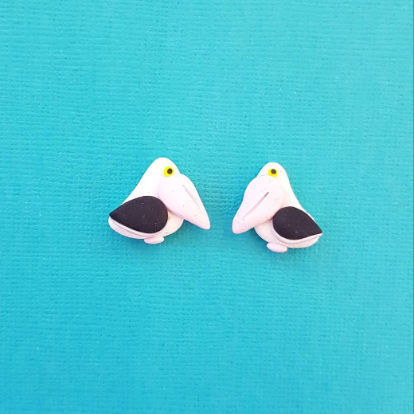 Pelican Earrings Handmade from Polymer Clay