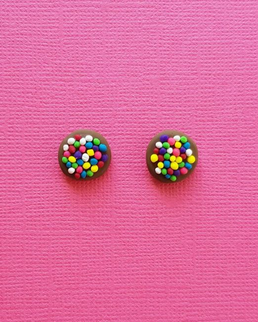 Chocolate Freckle Lolly Sweet Earrings Handmade from Polymer Clay