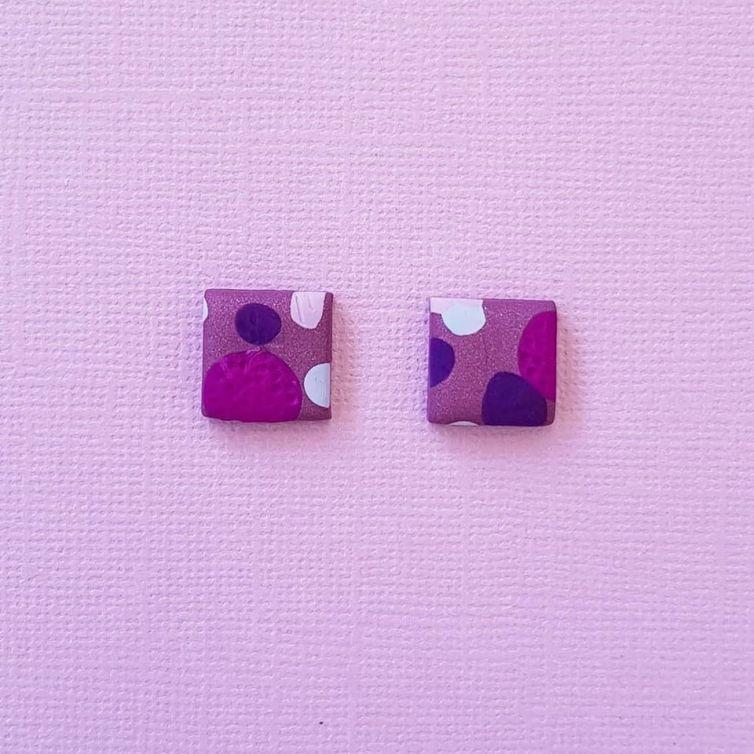 Purple Lover Stud Earrings Square