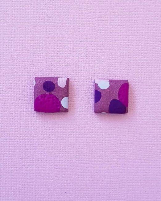 Purple Lover Earrings Square Geometric