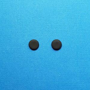 Matte Black Stud Earrings for Men and Women 9mm Round Circle Handmade