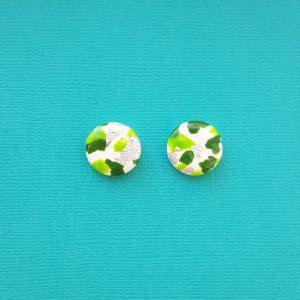 Green White and Silver Christmas Earrings Handmade