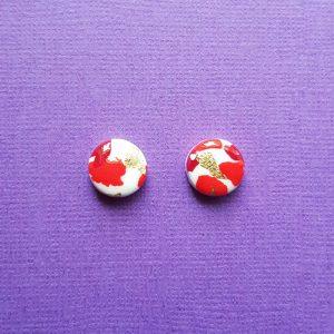 Red White and Gold Christmas Earrings Handmade