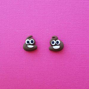Poo Emoji Stud Earrings Handmade
