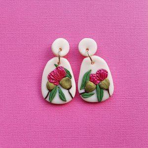 Pink Flowering Gum Leaf Earrings Handmade with Polymer Clay