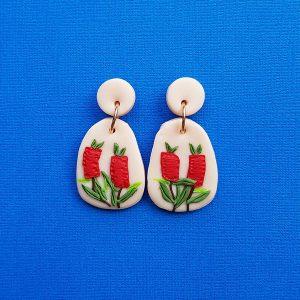 Red Bottlebrush Earrings Australian Handmade from polymer clay